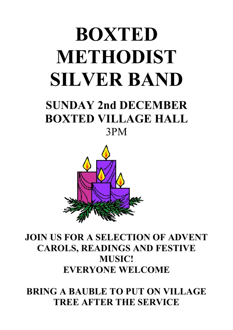 BOXTED METHODIST SILVER BAN DEC 6TH